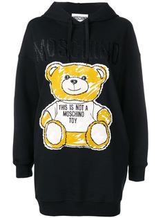 Moschino платье-худи Brushstroke Teddy Bear