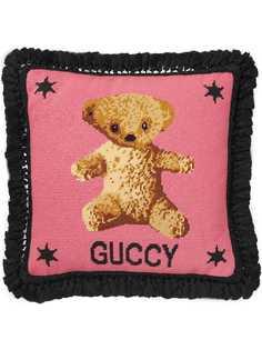 Gucci подушка с узором в виде медведя Needlepoint
