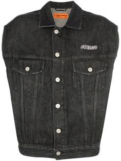 Heron Preston джинсовая куртка без рукавов с принтом CTNMB