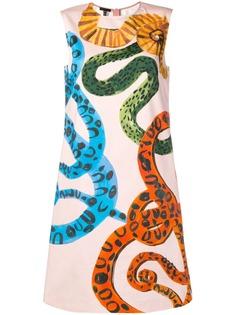 Escada платье трапеция со змеиным принтом