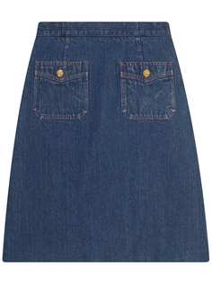 Gucci джинсовая мини-юбка А-образного силуэта