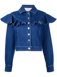 Sara Battaglia джинсовая куртка с оборками