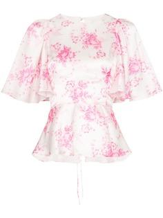 Les Reveries блузка с цветочным принтом и оборками