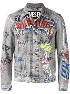 Diesel джинсовая куртка с принтом граффити