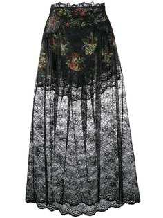 Paco Rabanne кружевная юбка с цветочным принтом