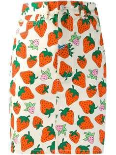 Gucci джинсовая юбка с принтом Gucci Strawberry