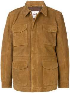 Schott приталенная кожаная куртка