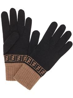 Fendi трикотажные перчатки с узором FF