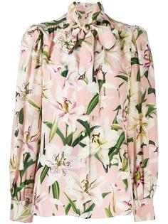 Dolce & Gabbana блузка с цветочным принтом и завязками
