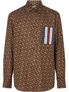 Burberry рубашка с монограммой и принтом в полоску