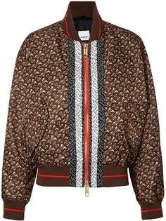 Burberry куртка-бомбер с монограммой и принтом в полоску