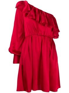MSGM платье на одно плечо с оборками