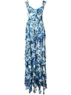 Marchesa Notte длинное платье без рукавов с оборками