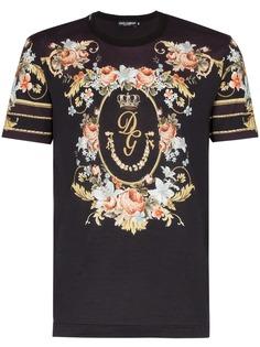 Dolce & Gabbana футболка с цветочным принтом и логотипом