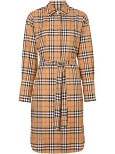 Burberry платье-рубашка в клетку Vintage Check с поясом