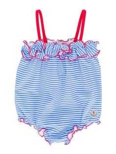 Moncler Kids полосатый слитный купальник