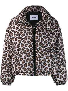 MSGM куртка-бомбер с леопардовым принтом