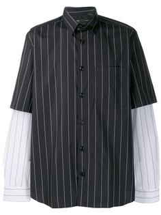 Diesel полосатая рубашка с двухслойными рукавами