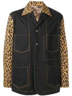 Marni куртка с леопардовыми рукавами и воротником