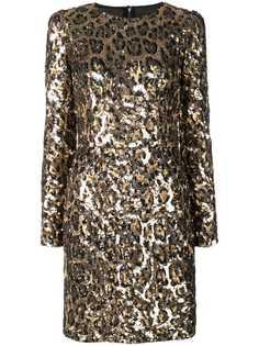Dolce & Gabbana леопардовое платье мини с пайетками