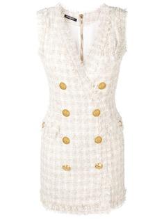 Balmain двубортное твидовое платье