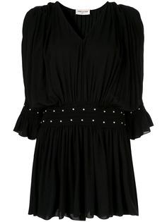 Saint Laurent платье со сборками и заклепками