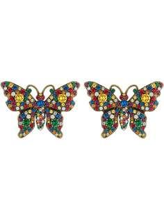 Gucci серьги в виде бабочки с кристаллами