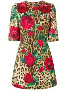 Dolce & Gabbana платье с леопардовым и цветочным принтом