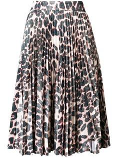 Calvin Klein плиссированная юбка с леопардовым принтом