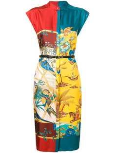 Salvatore Ferragamo платье миди со вставками и принтом