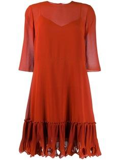 See By Chloé платье с отделкой из ткани жоржет