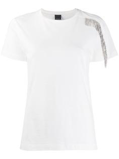 Pinko футболка с бахромой и кристаллами