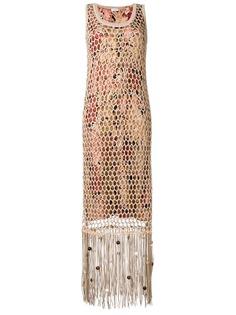 Salvatore Ferragamo длинное платье с бахромой