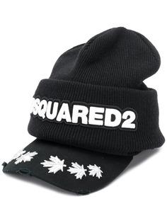 Dsquared2 шапка бини с козырьком и логотипом