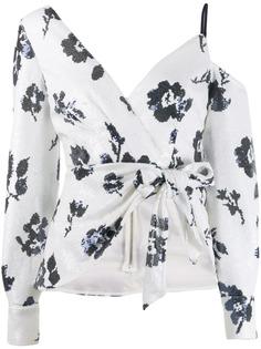 Self-Portrait блузка с открытыми плечами и цветочным принтом