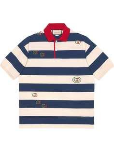 Gucci полосатая рубашка поло с вышивкой