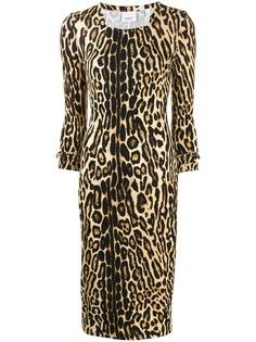 Burberry приталенное платье с леопардовым принтом