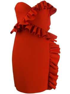 MSGM платье без бретелей с оборками