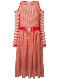 Fendi платье мини в мелкую клетку с поясом