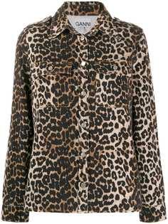 Ganni куртка-рубашка с леопардовым принтом