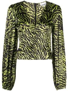 GANNI блузка с тигровым принтом