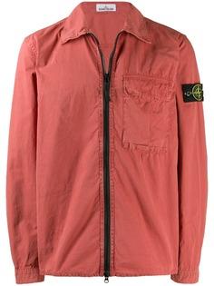 Stone Island куртка-рубашка с нашивкой-логотипом