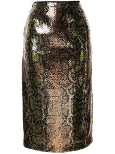 Nº21 юбка с тиснением под змеиную кожу и пайетками