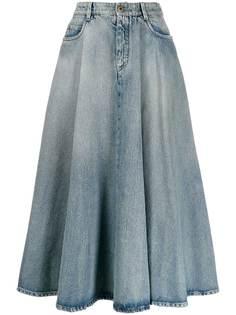 Miu Miu джинсовая расклешенная юбка миди