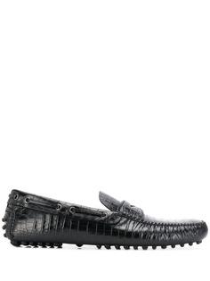 Car Shoe мокасины с тиснением под кожу крокодила