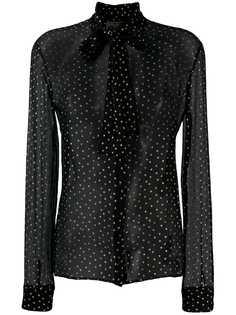 Saint Laurent блузка с бантом и узором