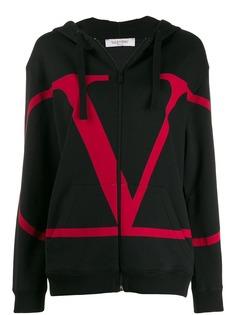 Valentino худи на молнии с логотипом VLogo