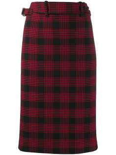 RedValentino клетчатая юбка с завышенной талией