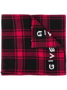 Givenchy клетчатый шарф с логотипом