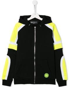Balmain Kids куртка с капюшоном и вставками